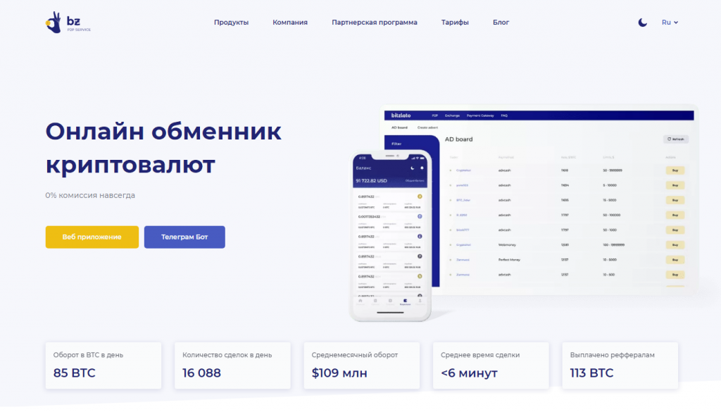 Bitzlato - онлайн-биржа и обмен криптовалюты